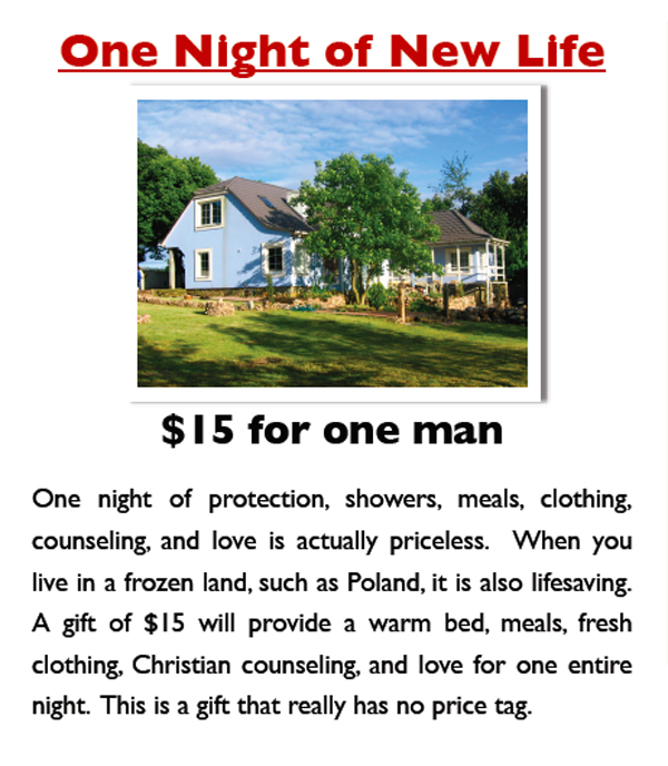 $15 one night bread of life