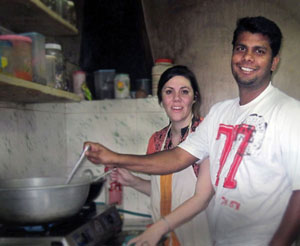 Paul and Molly cooking at the orphanage