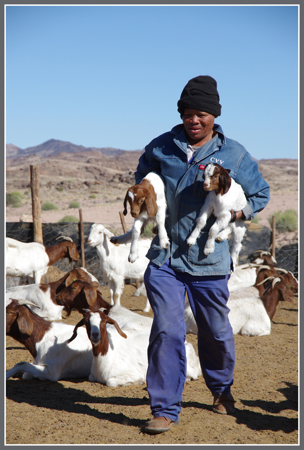 Bushman with Goat