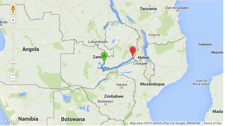 Map, Kabwe to Chipata, Timothy Keller