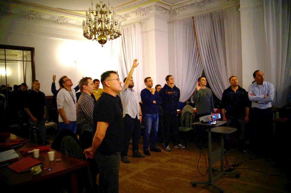 Men in action, worship, Poland, Gospel  Joy