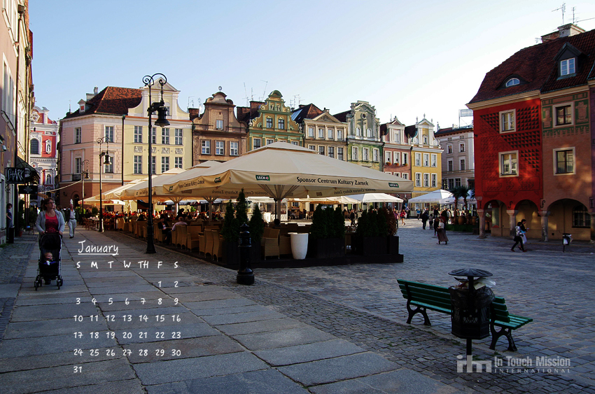 January desktop calendar, 2016, Poznan, Poland