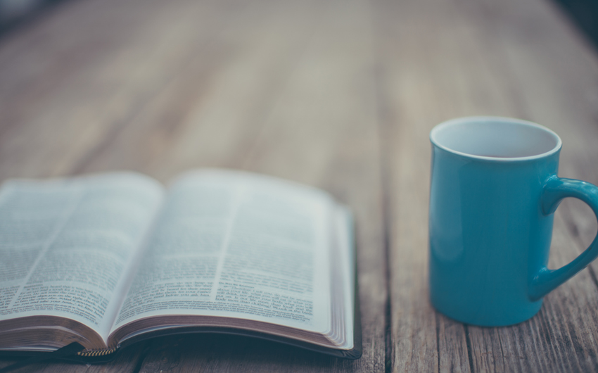 Bible, coffee