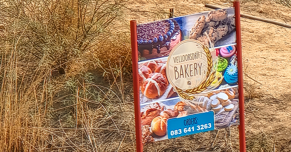 daily bread baker sign, south africa, onseepkans